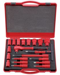 Draper 1/2 Inch Sq. Dr. VDE Approved Fully Insulated Metric Socket Set (20 Piece)