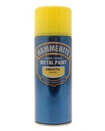 Hammerite 5092968 Metal Paint: Smooth Yellow 400ml (Aerosol)
