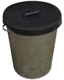 Apollo Gardening 90L Galvanised Metal Dustbin with Rubber Lid
