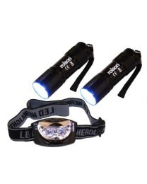 Rolson 61762 9-LED Torch and 3-LED Head Light Set (3 Pieces)