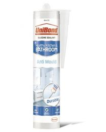 UniBond Anti-Mould Sealant / White Silicone Sealant for Kitchen and Bathroom / 1 x 274g Cartridge