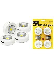 Rolson 61601 COB Push Light - Multi-Colour (4-Piece)