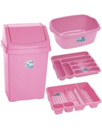 Baby Pink 4 Piece Kitchen Waste Bin Set