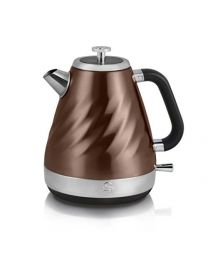 Swan Townhouse SK37010TWN Electric Twist Design Jug Kettle, 1.6 Litre, 2200W, Copper