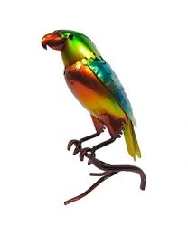 Rolson 84028 Glazed Blue/Green Parrot Garden Ornament, Metal, 21.5x12x34.5 cm
