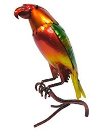 Rolson 84027 Glazed Yellow/Green Parrot Garden Ornament, Metal, 21.5x12x34.5 cm