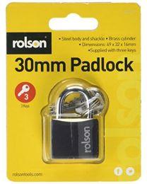 Rolson 66403 Padlock, Black, 30 mm
