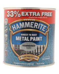 Hammerite 5158236 Metal Paint Hammered Silver - 750ml + 33% Extra Free