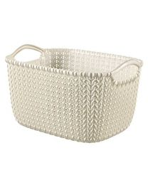 Curver Knit Rectangular Storage Basket, Plastic, Oasis White, 8 Litre