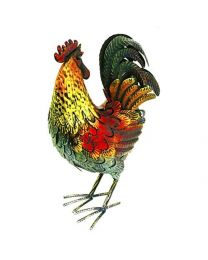 Rolson 84022 Glazed Cockerel Garden Ornament, Metal, 31.5x14x42 cm