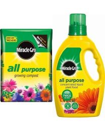 Scotts Miracle-Gro All Purpose Enriched Compost Bag, 50 L & Miracle-Gro All Purpose Concentrated Liquid Plant Food Bottle, 1 L Set