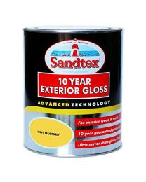 Sandtex 10 Year Exterior Gloss Paint 750ml Advanced Wood Painting Flexbible Finish Resistant Outdoor Paint for Wood and Metals Waterproof Finish - Hot Mustard