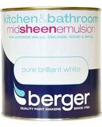 Berger Paint for Kitchen & Bathroom 1 Litres MATT Brilliant White
