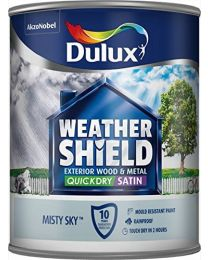 Dulux Weather Shield Quick Dry Satin Paint, 750 ml - Misty Sky