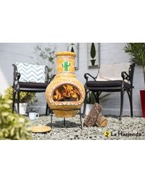 La Hacienda Cardon Cactus Design Clay Chiminea Patio Heater