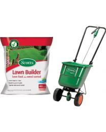 Scotts Lawn Builder 8 kg Lawn Food Plus Weed Control with EasyGreen Rotary Spreader Bundle