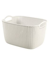 Curver Knit Rectangular Storage Basket, Plastic, Oasis White, 19 Litre