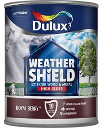 Dulux Weather Shield Exterior High Gloss Paint, 750 ml - Royal Berry