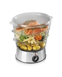 Tower Health T21001 3 Tier Steamer with Collapsible Baskets, 400 W, 5.5 Litre, Stainless Steel