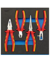 Draper VDE Approved Fully Insulated Plier Set in 1/2 Drawer EVA Insert Tray (4 Piece)